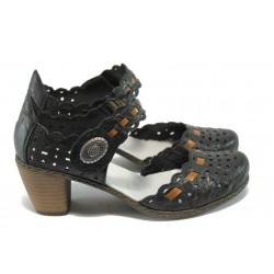Дамски обувки от естествена кожа Rieker 40979-00 черен ANTISTRESS