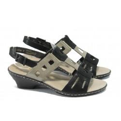 Дамски сандали от естествена кожа Rieker 62169-00 черен ANTISTRESS