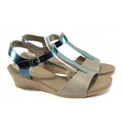 Дамски сандали от естествена кожа Jana 8-28213-24 бежов