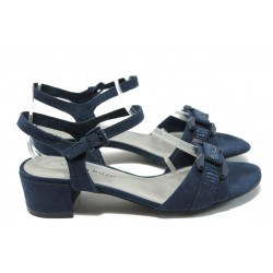 Дамски велурени сандали на среден ток Marco Tozzi 2-28203-24 син