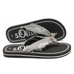 Дамски равни чехли с каишка между пръстите S.Oliver 5-27108-24 черен