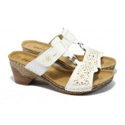 Дамски ортопедични чехли на ток Jana 8-27212-24 бели