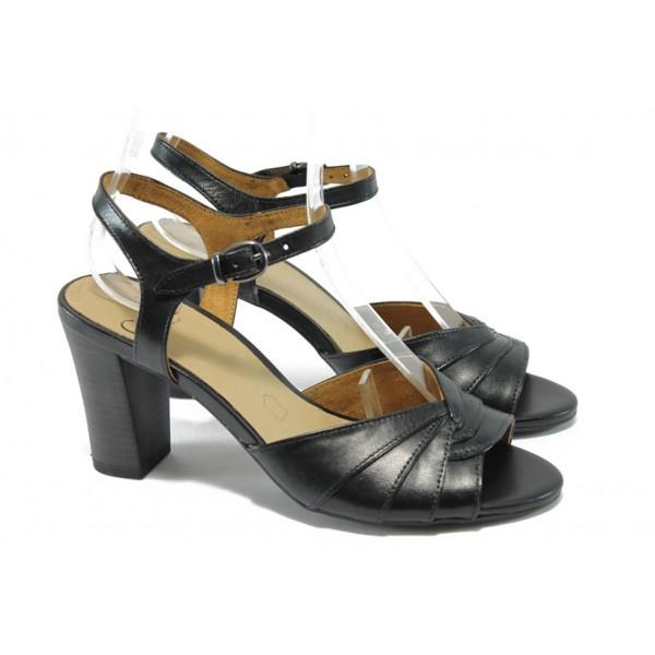 Анатомични дамски сандали от естествена кожа Caprice 9-28300-24 черен