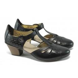 Дамски обувки от естествена кожа Rieker 45085-00 черен ANTISTRESS
