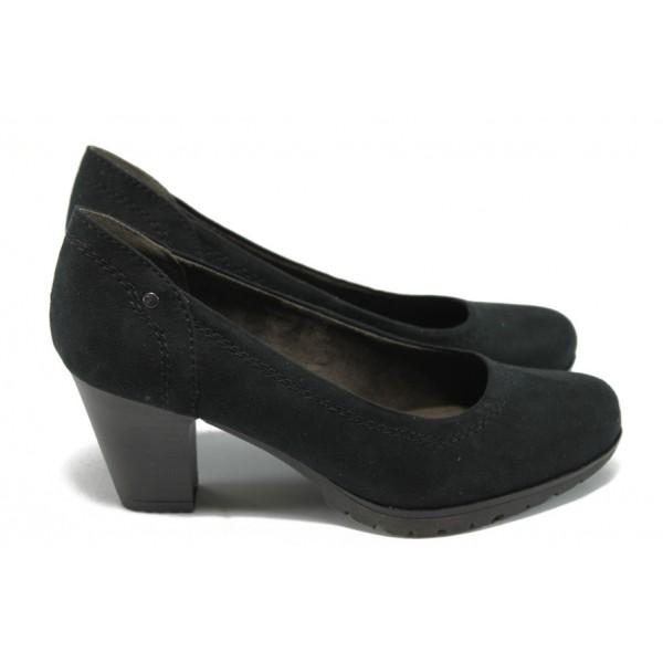 Дамски велурени обувки на среден ток Jana 8-22460-25H черни