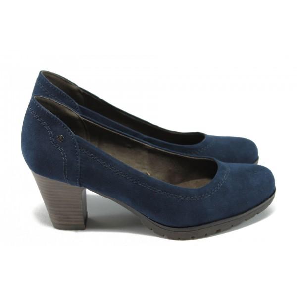 Дамски велурени обувки на среден ток Jana 8-22460-25H син