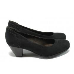 Дамски велурени обувки на среден ток Jana 8-22461-25H черен