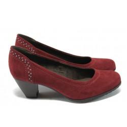 Дамски велурени обувки на среден ток Jana 8-22461-25H бордо