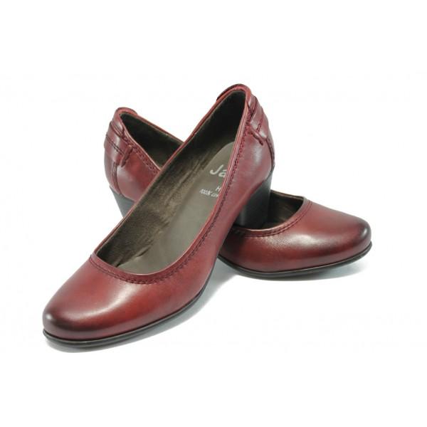 Немски обувки на ток от естествена кожа Jana 8-22404-25 бордо ANTISHOKK