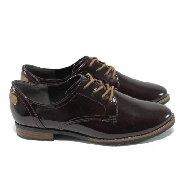 Дамски немски обувки с връзки Jana 8-23260-25 бордо лак