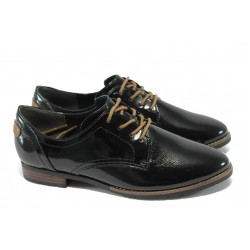 Дамски немски обувки с връзки Jana 8-23260-25 черен лак
