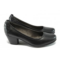 Немски обувки на ток от естествена кожа Jana 8-22404-25 черен ANTISHOKK