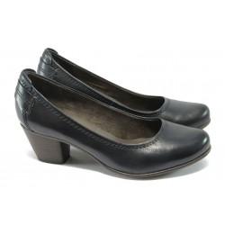 Немски обувки на ток от естествена кожа Jana 8-22404-25 син ANTISHOKK
