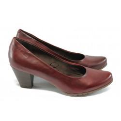 Дамски обувки на ток от естествена кожа S.Oliver 5-22433-35 бордо