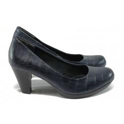 """Дамски обувки на ток с """"кроко"""" мотив Marco Tozzi 2-22420-25 т.син"""