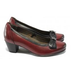 Дамски обувки на ток от естествена кожа за Н крак Caprice 9-22308-25 бордо ANTISHOKK