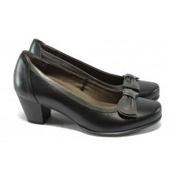 Дамски обувки на ток от естествена кожа за Н крак Caprice 9-22308-25 черен ANTISHOKK