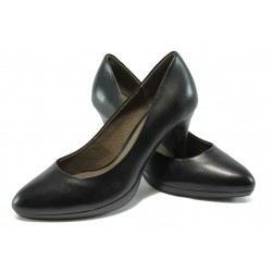 Елегантни дамски обувки от естествена кожа на висок ток Caprice 9-22412-25 черен