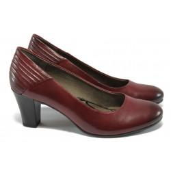 Дамски обувки от естествена кожа на ток Caprice 9-22403-25 бордо