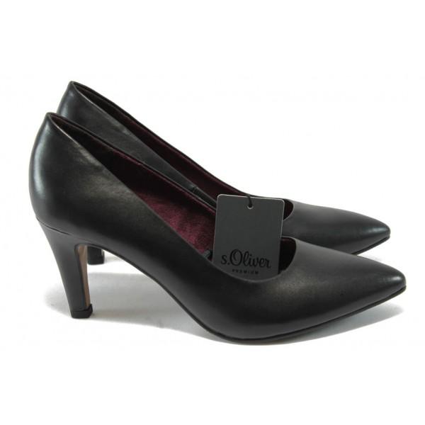 Елегантни дамски обувки на ток от естествена кожа S.Oliver 5-22432-25 черен