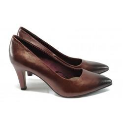 Елегантни дамски обувки на ток от естествена кожа S.Oliver 5-22432-25 бордо