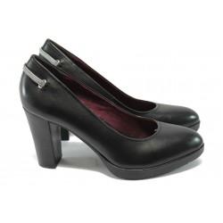 Анатомични дамски обувки от естествена кожа S.Oliver 5-22404-25 черен