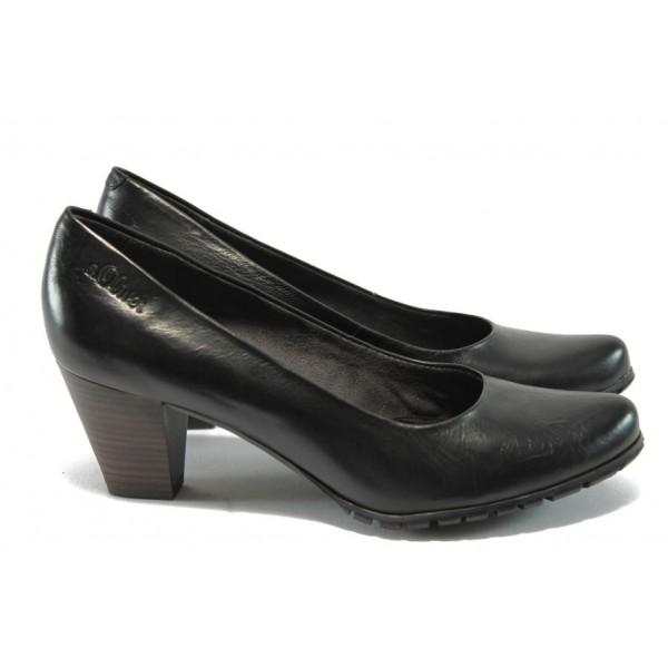 Дамски обувки на ток от естествена кожа S.Oliver 5-22433-35 черно
