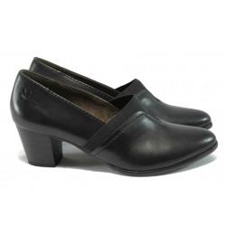 Дамски обувки на ток от естествена кожа Caprice 9-24403-25 черен ANTISHOKK