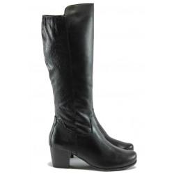 Дамски ботуши от естествена кожа за Н крак Jana 8-25504-25 черен