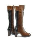 Дамски ботуши от естествена кожа за XS крак Caprice 9-25522-25 кафяв ANTISHOKK