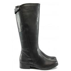 Дамски ботуши от естествена кожа за Н крак Jana 8-25503-25 черен