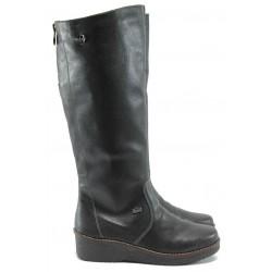 Дамски ботуши от естествена кожа за Н крак Rieker Y4661-00 черен ANTISTRESS