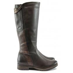Дамски ботуши от естествена кожа за Н крак Jana 8-25503-25 кафяв