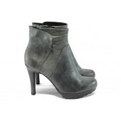 Дамски елегантни боти от естествена кожа Marco Tozzi 2-25476-25 сив