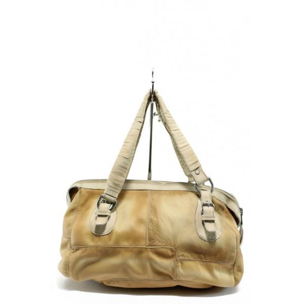 Дамска чанта от естествена кожа ИО 32 жълт