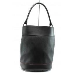Българска дамска чанта /тип торба/ СБ 1189 черна кожа