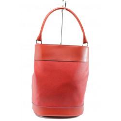 Българска дамска чанта /тип торба/ СБ 1189 червена кожа