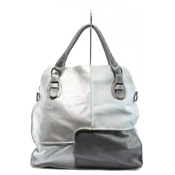 Дамска чанта от естествена кожа ИО 12 сребро