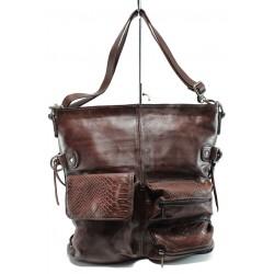 Българска дамска чанта от естествена кожа ИО 3 бордо | Дамски чанти | MES.BG