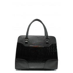 Българска дамска чанта с кроко мотив СБ 1206 черен кожа-кроко | Дамска чанта | MES.BG