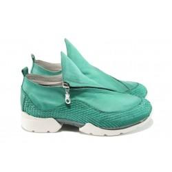 Дамски спортни обувки от естествена кожа ИО 1659 зелен