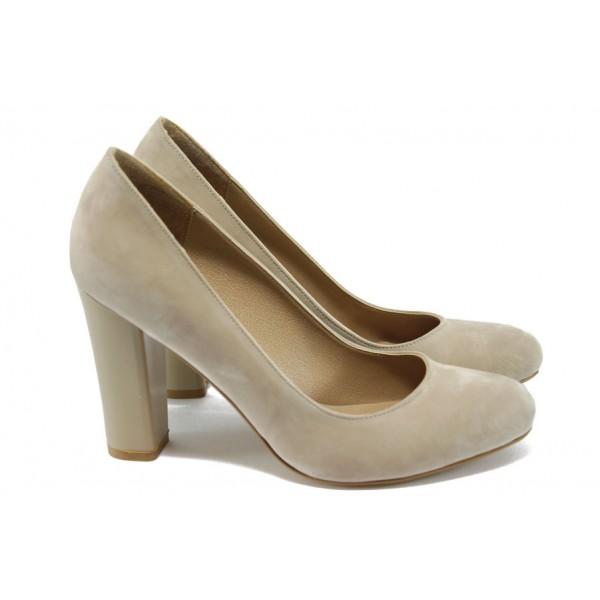 Елегантни дамски обувки на висок ток МИ 80 бежов набук