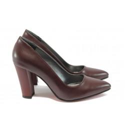 Елегантни дамски обувки на висок ток МИ 26000 бордо кожа