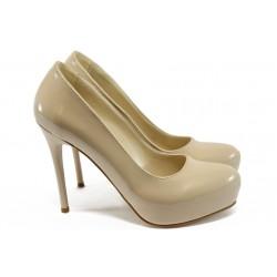 Елегантни дамски обувки на висок ток МИ 019 бежов