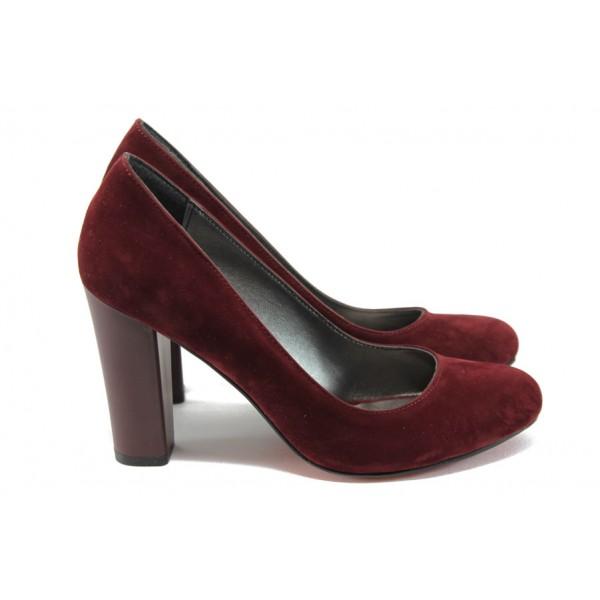 Елегантни дамски обувки на висок ток МИ 80 бордо набук