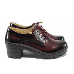 Дамски анатомични обувки на среден ток МИ 862 бордо