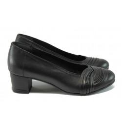 Ортопедични дамски обувки от естествена кожа НБ 14277-843 черен