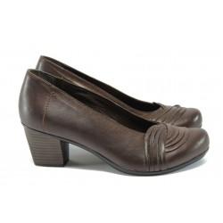 Ортопедични дамски обувки от естествена кожа НБ 2065-843 кафяв