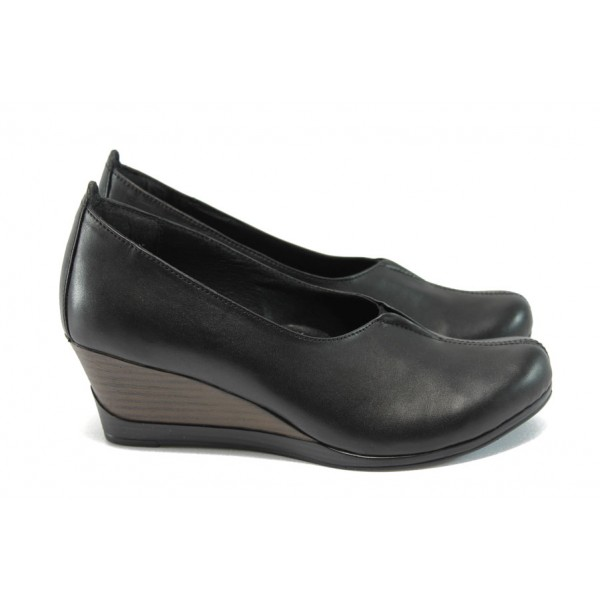 Ортопедични обувки от естествена кожа на платформа НБ 5596-858 черен