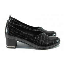 Ортопедични дамски обувки от естествена кожа-лак НБ 15405-858 черен лак